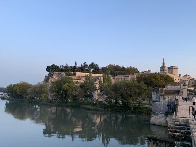 Saint Bezenet Bridget looking toward the Pope's Palace in Avignon