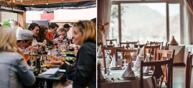 Side-by-side photos of a restaurant full of people enjoying food and wine next to an empty restaurant.