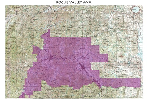 map of the Rogue Valley AVA