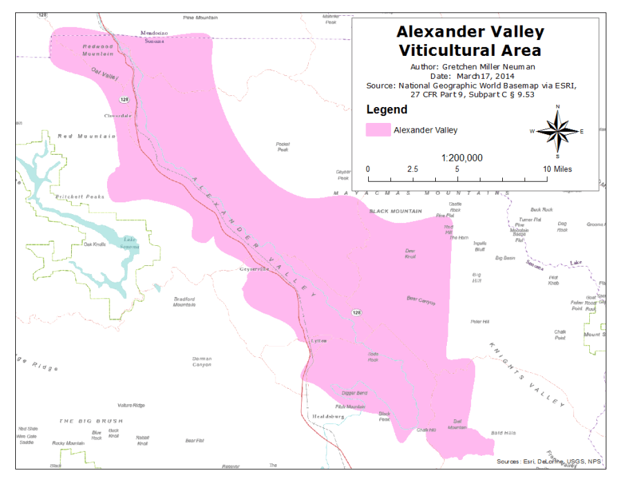 Map of Alexander Valley AVA