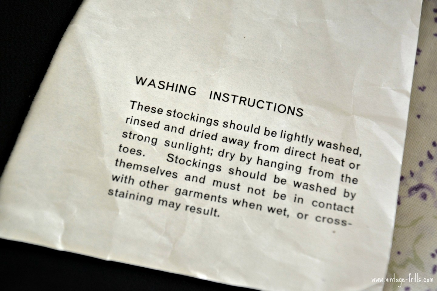 Vintage Stocking Washing Instructions
