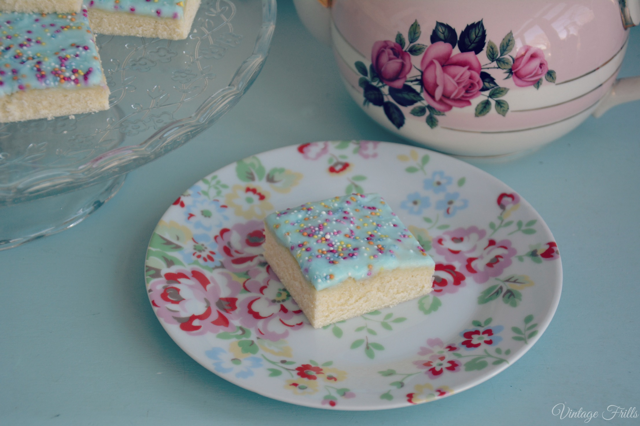 Sponge Cake With Icing And Sprinkles Recipe