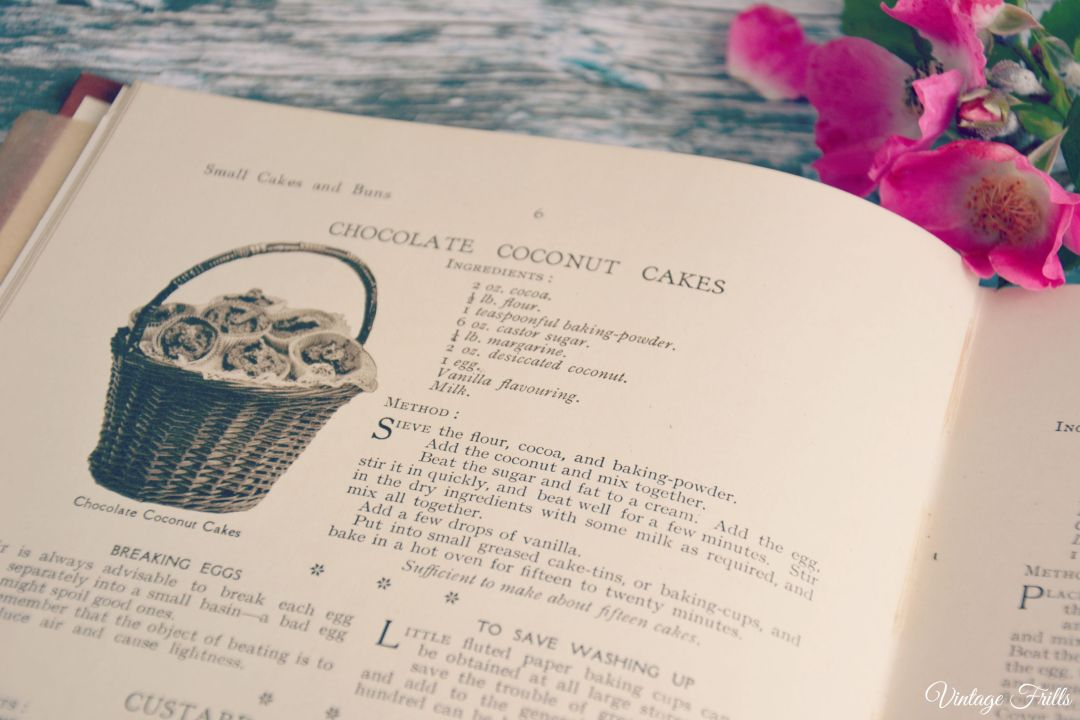 1930s Recipe Book Chocolate Coconut Cakes