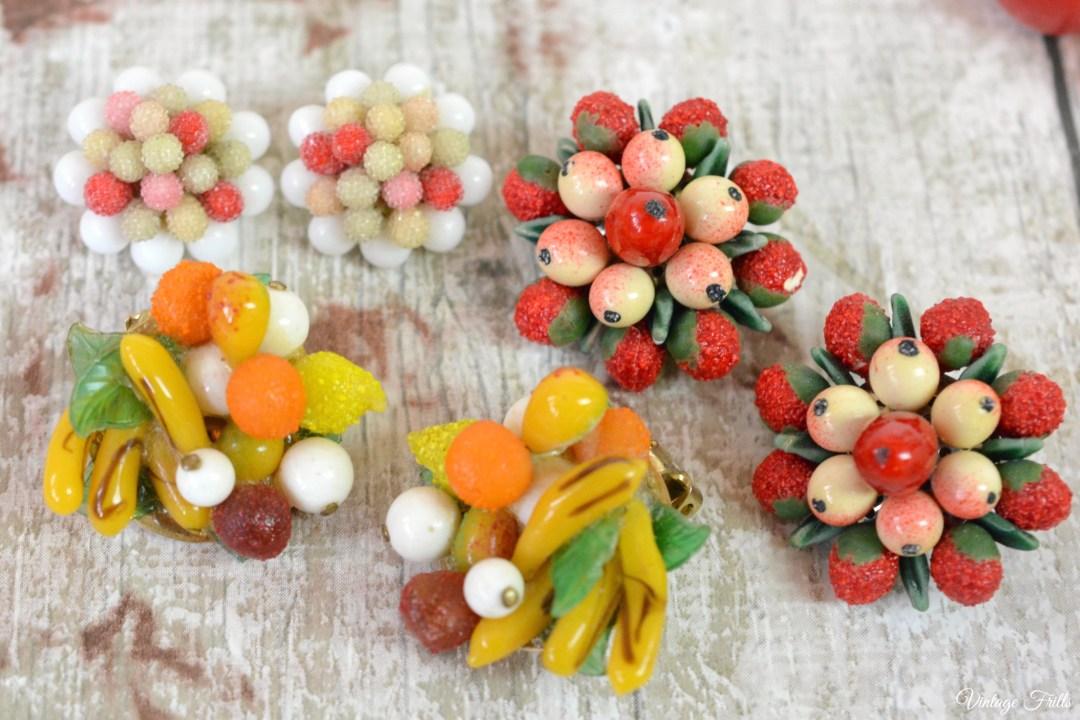 Vintage Novelty Fruit Earrings