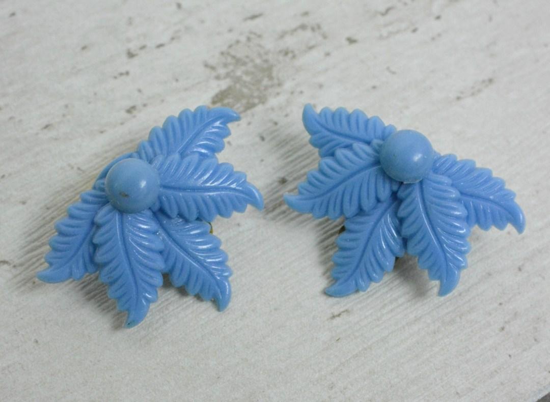Blue deadstock clip on earrings