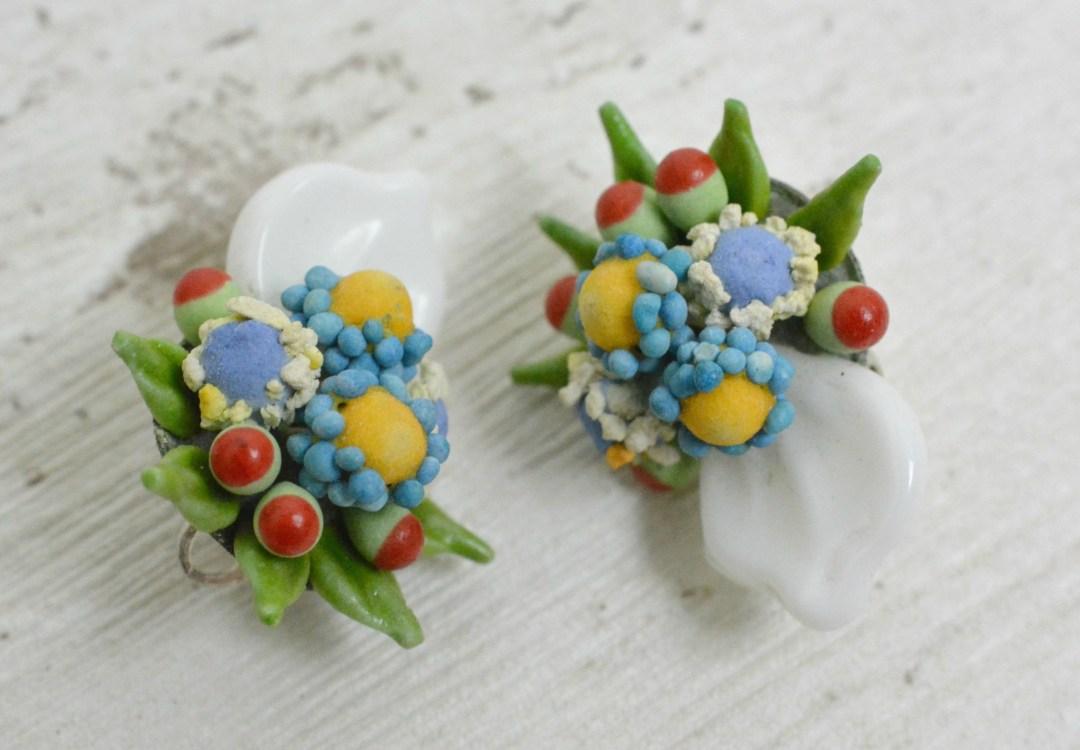 Plastic flower clip on earrings