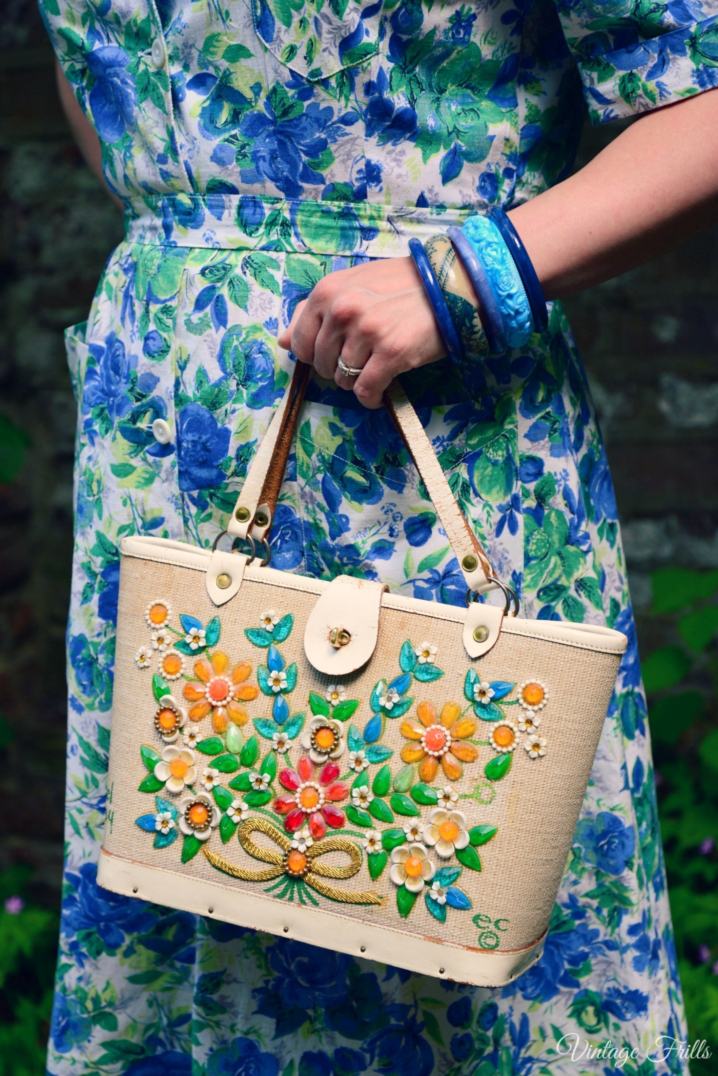 Enid Collins Bag and Blue Bangles