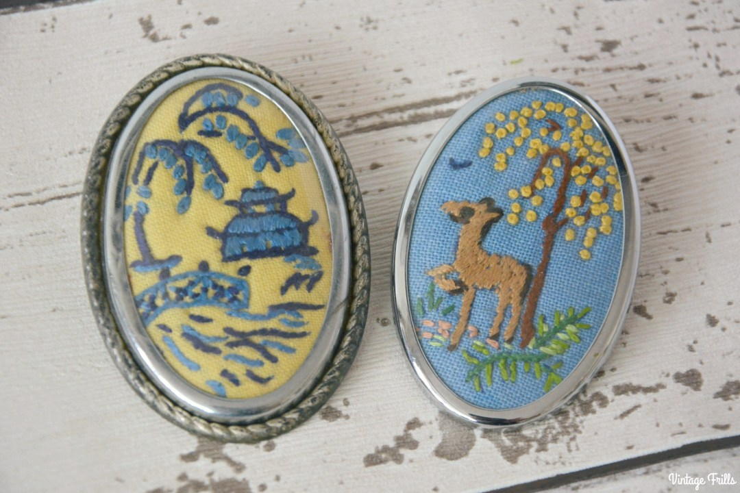 vintage-embroidered-picture-brooches