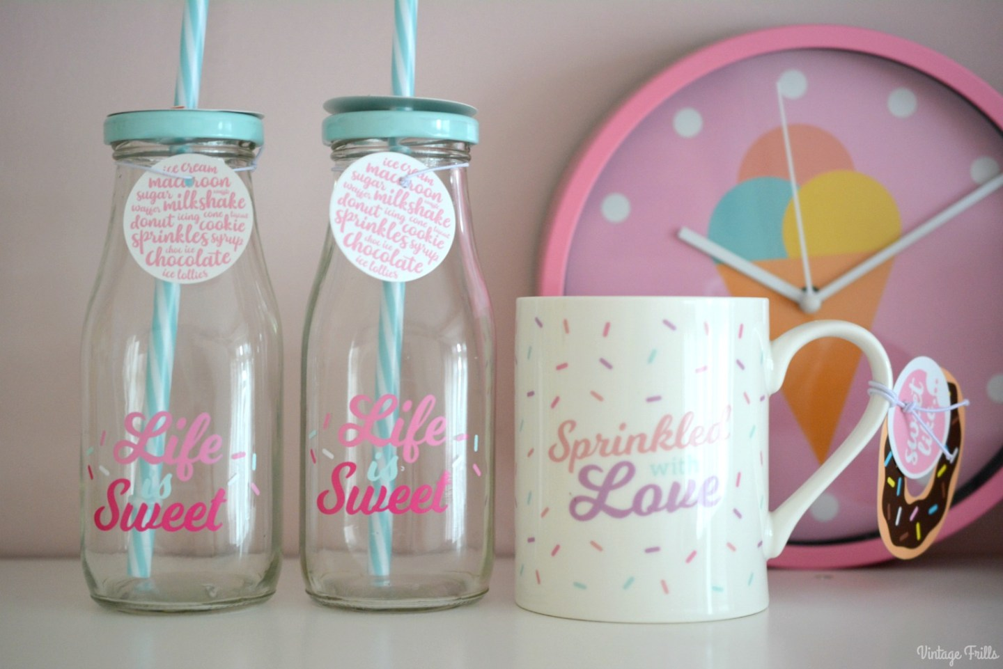 Ice Cream Theme | Home Bargains Mugs and Milk Bottles