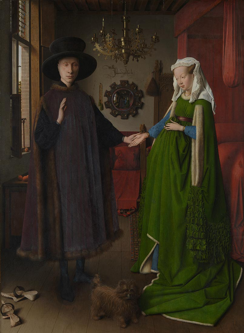 Jan van Eyck, Portrait of Giovanni (?) Arnolfini and his Wife and 'The Arnolfini Portrait' , 1434, National Gallery, London © The National Gallery, London