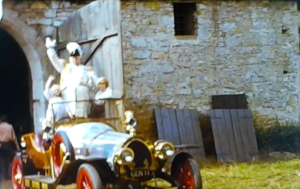 A still from the standard 8 home movie shot when the film chitty chitty bang bang was being filmed