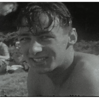 Blurry Beach party film from the 1950s