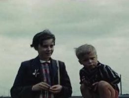 A still image of two boys taken from a vintage home movie shot in Germany & Holland in 1961