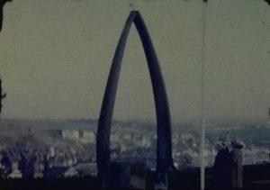 A still image of the famous Whitby Whale Bone Arch from a standard 8 Vintage Home Movie