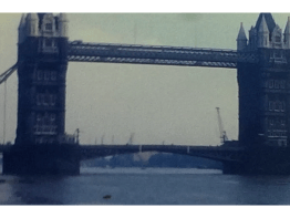 A picture of tower bridge from a trip to the tower of london in about 1970