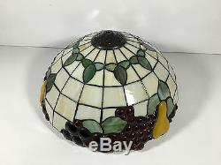 Vintage Tiffany Style Stained Leaded Glass Fruit Lamp