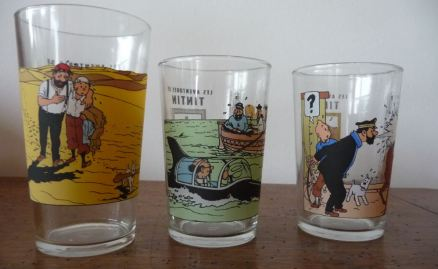 Trois verres à moutarde Amora Tintin