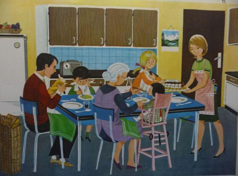 Affiche Fernand Nathan 1966 la cuisine le repas familial