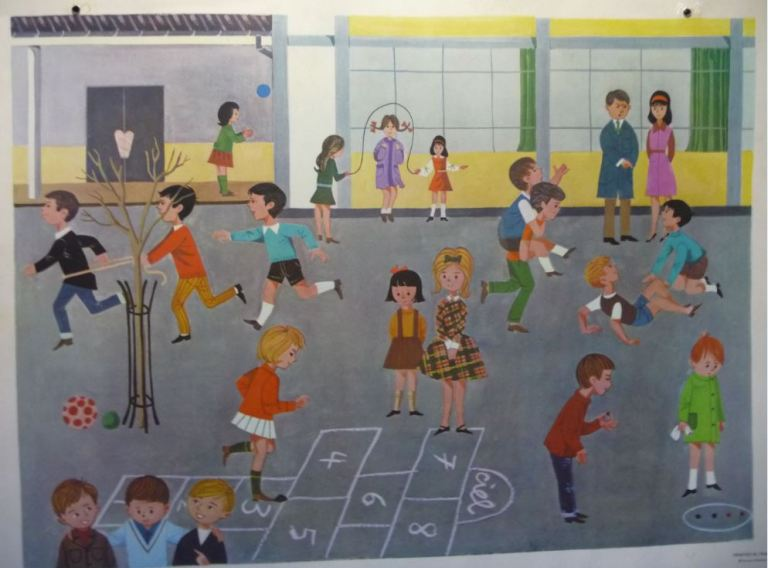 Affiche Fernand Nathan 1966 la récréation