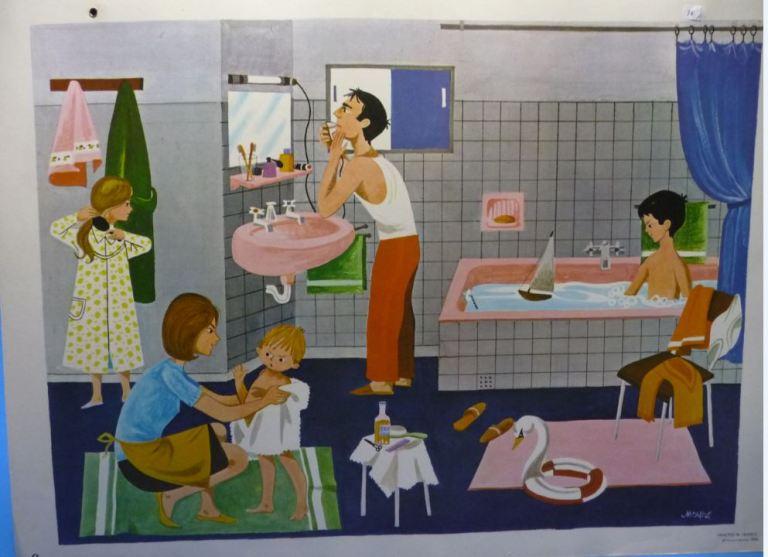 Affiche Fernand Nathan 1966 la salle de bain la toilette