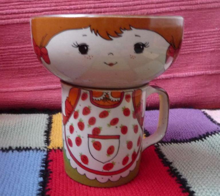mug et bol tête de fillette vintage en grès