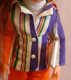 tenue originale veste et sac à main de la poupée Crissy de Clodrey