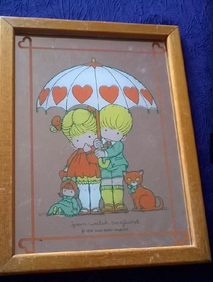 Miroir sérigraphié Joan Walsh Anglund deux enfantssous un parapluie