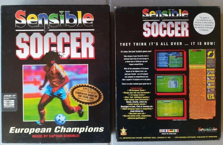 Boîte du jeu vidéo Sensible Soccer (1992).