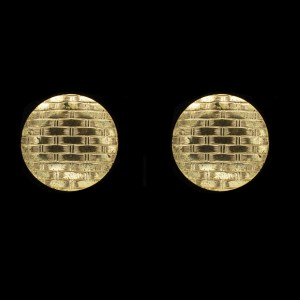 MIRIAM HASKELL Vintage Earrings Russian Brushed Gold Buttons