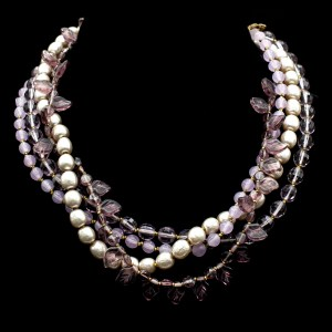 Miriam Haskell 5 Strand Amethyst Necklace