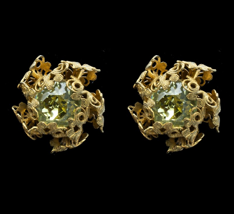 Miriam Haskell Peridot Glass Clip Back Earrings