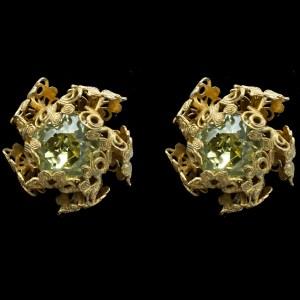 Miriam Haskell Peridot Glass Clip Back Earrings