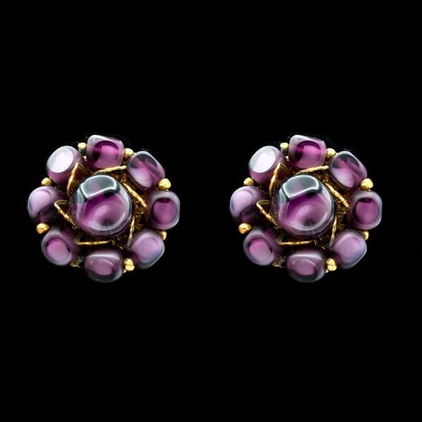 Miriam Haskell Purple Glass Earrings