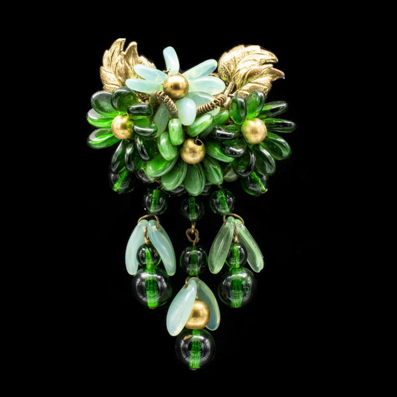 Green Glass Floral Bead Brooch
