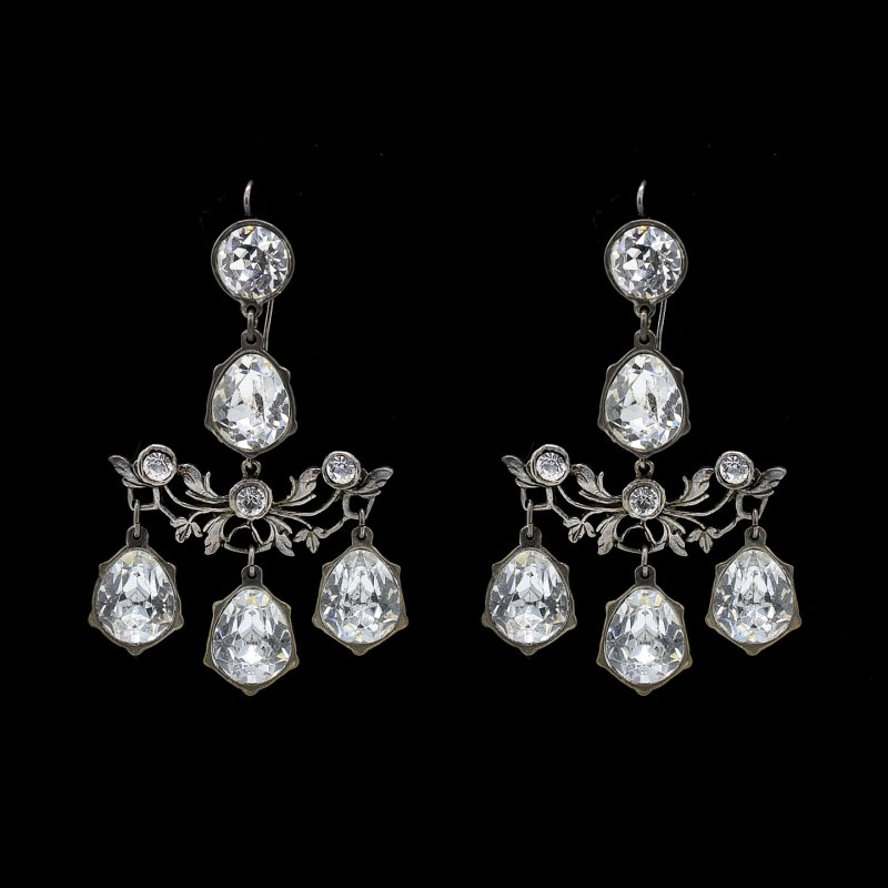 27088 - Revival Paste Trellis Girandole Earrings