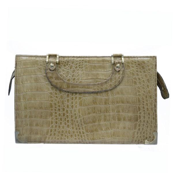 Vintage Veneto Tan Crocodile Handbag