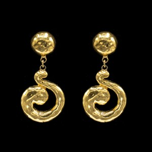 31425 - YSL Dangling Swirl Earrings, 1990