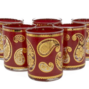 Culver Red Paisley Rocks Glasses