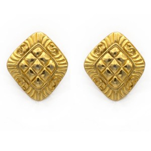 20319 - Chanel Chevron Quilted Motif Earrings, 1980