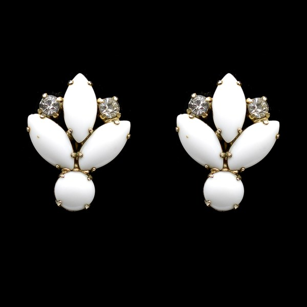 Milk Glass & Rhinestone Floral Earrings, 1950s