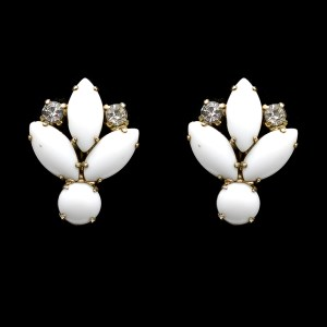 Milk Glass & Rhinestone Floral Earrings, 1950s
