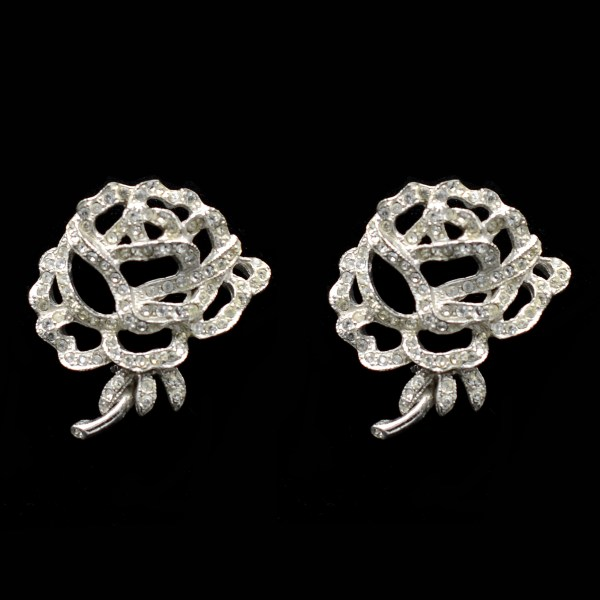 Rich Art Clear Paste & Rhodium Rose Earrings
