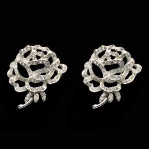 Rich Art Clear Paste & Rhodium Rose Earrings