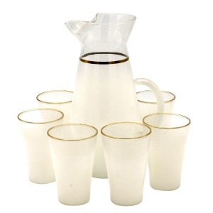 27056 - West Virginia Glass White Blendo Juice Glasses with Pitcher, Set of Five (5)