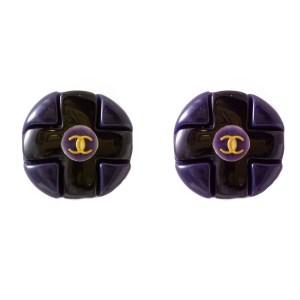 29512 - Chanel Purple & Black Acrylic Maltese Cross Earrings, Autumn 1995