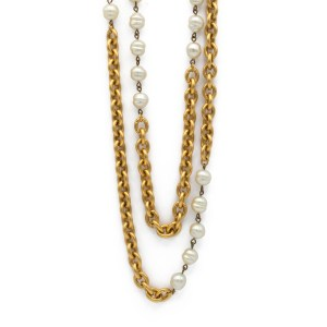 """29754 - Chanel 37"""" Oval Link Chain & Pearl Necklace, 1984"""