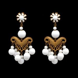30181 - Miriam Haskell White Bead Chandelier Earrings, 1970