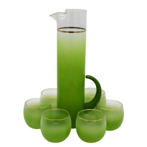 30984 - West Virginia Glass Green Blendo Roly Poly Glasses with Pitcher, Set of Six (6)