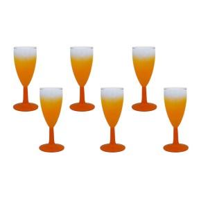27029 2 - West Virginia Glass Blendo Orange Chapagne Flutes, Set of Six (6)
