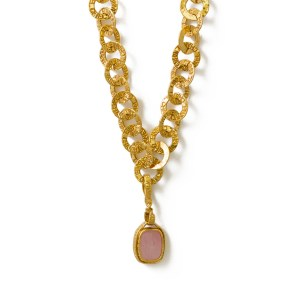 Chanel embossed link necklace with Pink Gripoix Pendant,